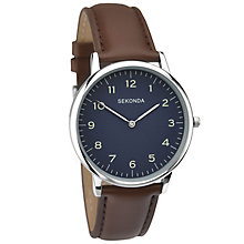 Sekonda Men's Blue Dial Brown Leather Strap Watch - Product number 5865883