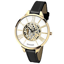 Sekonda Ladies' White Dial Black Leather Strap Watch - Product number 5865921