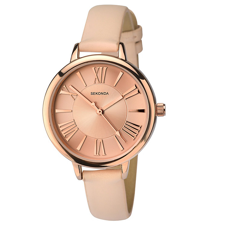 Sekonda Ladies' Rose Tone Dial Nude Leather Strap Watch - Product number 5865948