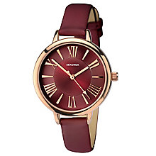 Sekonda Ladies' Rose Gold-Plated Burgundy Leather Watch - Product number 5865956