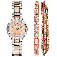 Fossil Ladies' Rose Gold Plated Bracelet Watch Set - Product number 5865999
