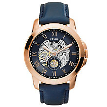 Fossil Gent's Grant Automatic Navy Leather Watch - Product number 5866022