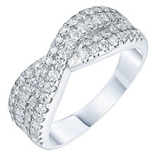 18ct White Gold 1ct Diamond Crossover Eternity Band - Product number 5869366