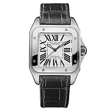 Cartier Santos stainless steel black strap watch - Product number 5872944