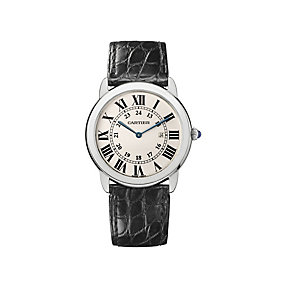 Cartier Ronde Solo men's black leather strap watch - Product number 5873304