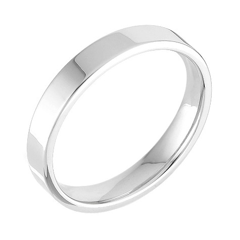 18ct white gold extra heavy flat court 3mm ring
