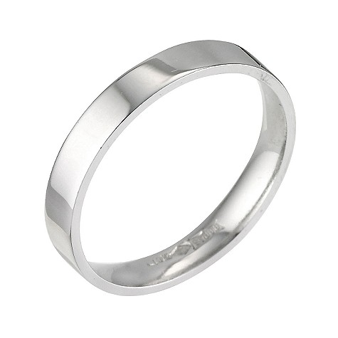 Platinum flat extra heavy weight ring 3mm