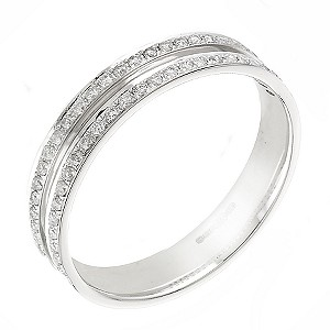 18ct white gold quarter carat diamond wedding ring - Product number 5880661