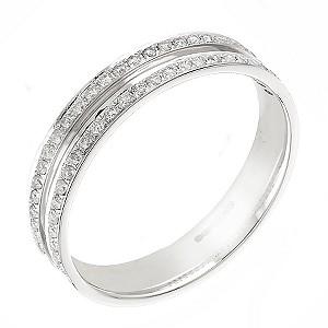 18ct white gold quarter carat diamond wedding ring - Product number 5880661
