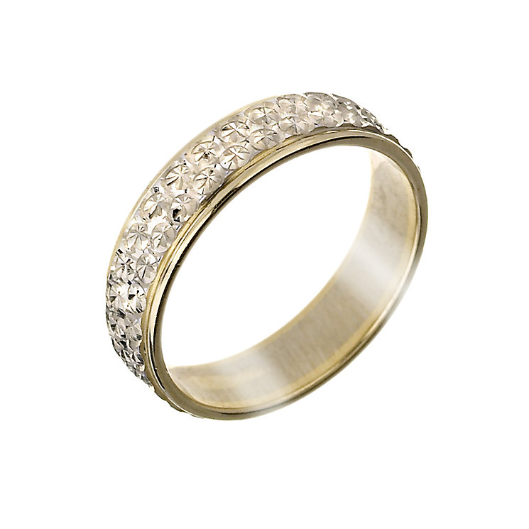9ct Gold Two-Colour Diamond Cut Band - Product number 5900271