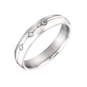 Unisex Palladium 4mm Diamond Wedding Ring