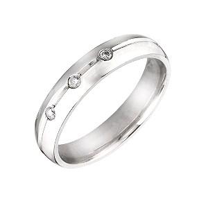 Unisex Palladium 4mm Diamond Wedding Ring