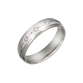 Men's Palladium Three Stone Diamond Wedding Ring - Product number 5901731