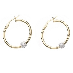 9ct gold Creole Silver Bead Hoops product image