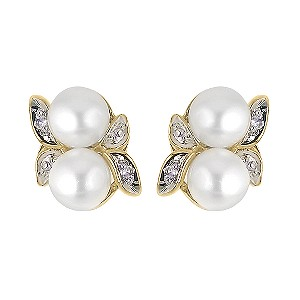 9ct Yellow Gold Diamond And Pearl Stud Earrings - Product number 5911966