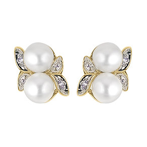 9ct Gold Diamond And Freshwater Cultured Pearl Stud Earrings - Product number 5911966