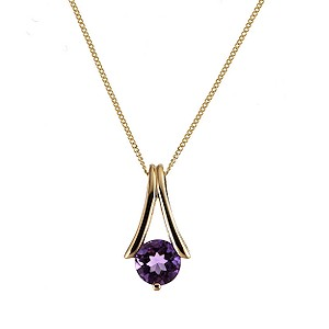 9ct Yellow Gold Amethyst Pendant Necklace