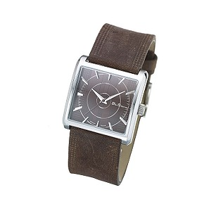 ` Brown Leather Strap Watch