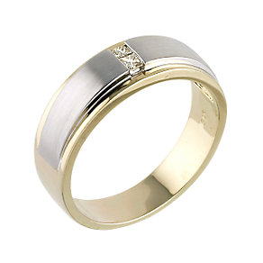 9ct two colour gold diamond ring - Product number 5934486