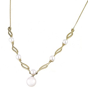 9ct Yellow Gold Diamond And Pearl Necklace