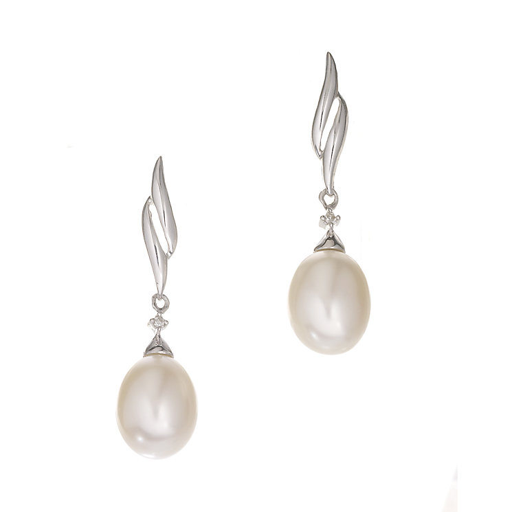9ct white gold cultured freshwater pearl drop earrings - Product number 5939860