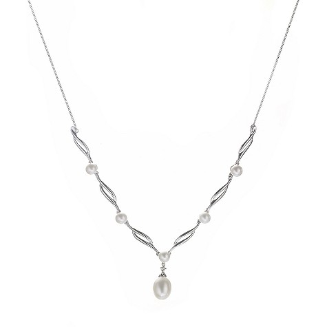 9ct white gold cultured freshwater pearl necklace