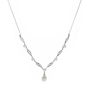 9ct white gold cultured freshwater pearl necklace - Product number 5940141