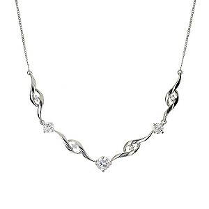 9ct White Gold Cubic Zirconia Necklace