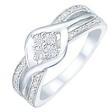 Sterling Silver Diamond Cluster Ring - Product number 5950805