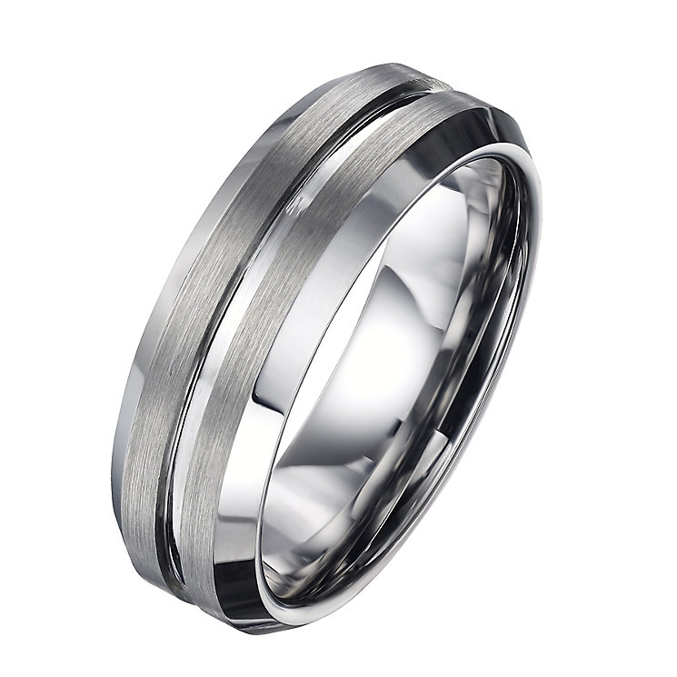 Men's Tungsten 7mm Matt And Polished Ring - Product number 5952697