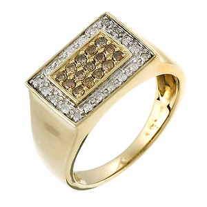9ct Yellow Gold Half Carat Brown And White Diamond Ring