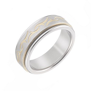 Men's Titanium and Yellow Patterned Ring