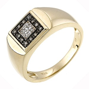 9ct Yellow Gold, Brown And White Diamond Ring