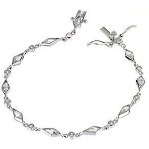 Sterling Silver Cubic Zirconia Vintage Style Bracelet - Product number 5956838