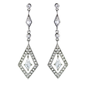 Sterling Silver Cubic Zirconia Vintage Style Earrings - Product number 5956846
