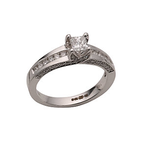 18ct white gold three quarter carat diamond solitaire ring - Product number 5957338