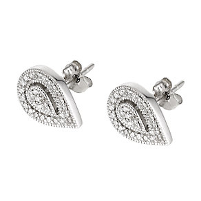 9ct white gold diamond stud earrings - Product number 5962374