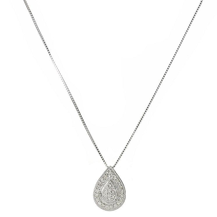9ct white gold diamond pear shaped pendant 18