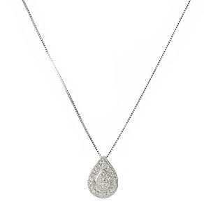 9ct white gold diamond pear shaped pendant 18