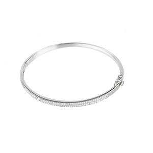 9ct white gold half carat diamond bangle - Product number 5962412