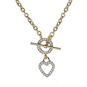 9ct Yellow Gold Heart T Bar Necklace