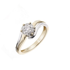 18ct two-colour gold quarter carat diamond ring - Product number 5965918