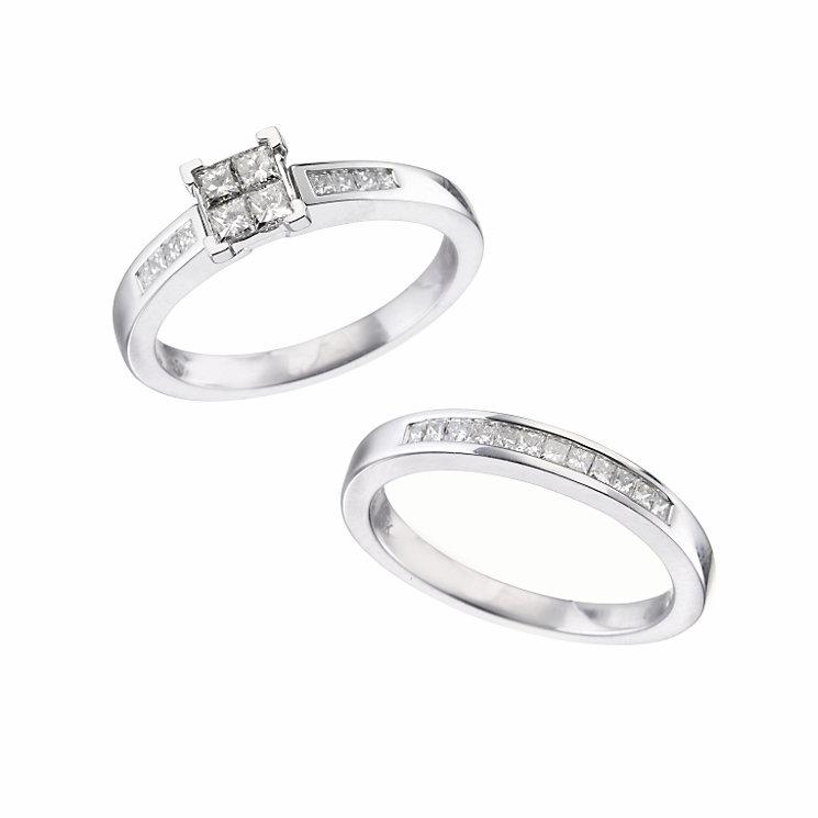 18ct white gold half carat diamond bridal set - Product number 5968887