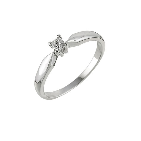 Unbranded 9ct white gold 12 point princess cut diamond ring