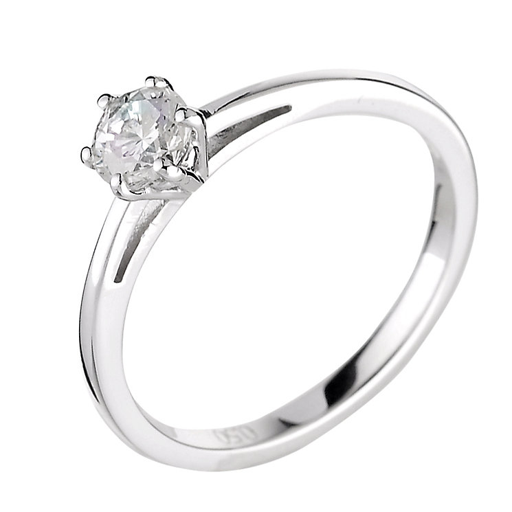 18ct white gold half carat diamond solitaire ring - Product number 5974917