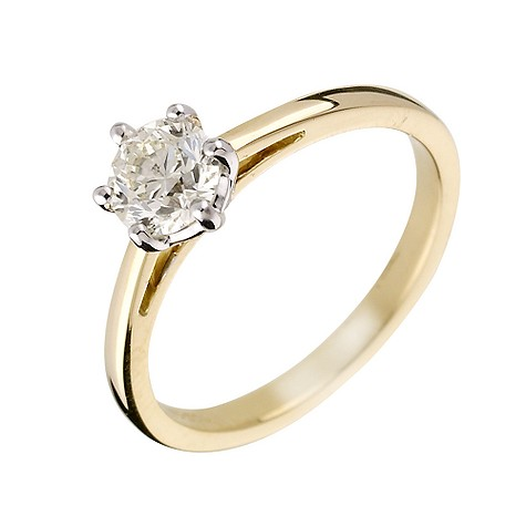 18ct yellow gold 66 point diamond solitaire ring
