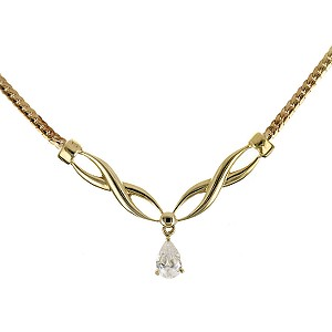 9ct Yellow Gold Cubic Zirconia Kiss necklace