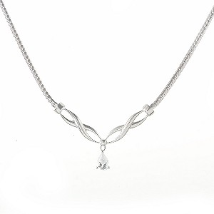9ct White Gold Cubic Zirconia Kiss Necklace