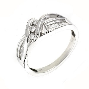 9ct White Gold And Diamond 3 Stone Ring