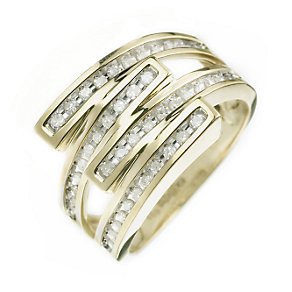 9ct Gold 1/3ct Double Crossover Diamond Ring - Product number 5982332